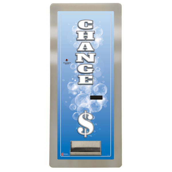 MC400RL-SLIM Changer has two coin hoppers in a solid steel cabinet   Bill to Coin Changer  Rear Load